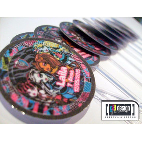 60 Tags Totens Toppers Monster High Personalizados Festa
