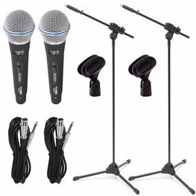 Kit 2 Microfone Profissional Sc815 + 2 Pedestal Ibox + Cabos