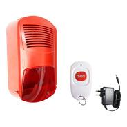 Panico Sirena Incendio Roja Intemperie Estrobo Control Sos