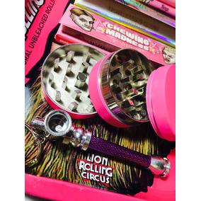 Kit Rosa Lion Rolling Circus Pica Metal Pipa Bandeja Papeles