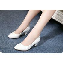Sapato Feminino Salto Alto Clássicol Elegante Branca Preta