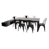 Mesa Comedor Extensible Cristal Base Acero By Promöbel