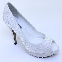 Sapato Noiva Branco Peep Toe Tecido Cetim Bordado Perola
