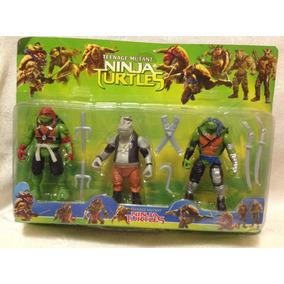 Kit 2 Boneco Tartaruga Ninja +vilao Rocksteady 14cm Promocao