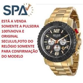 05b8b0f7117 Relogio Seculus Dourado Com Pulseira - Relógios De Pulso no Mercado ...