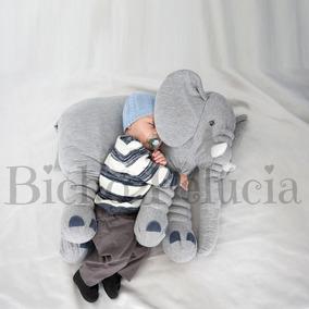 Almofada Travesseiro Elefante Bebê Malha 100% Algodão 80cm