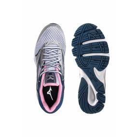 Tenis Strike N Mizuno Feminino Prata Com Rosa E Azul