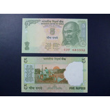 India Billete 5 Rupias Unc 2009 (gandhi)