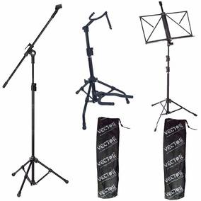 Pedestal P/ Microfone + Estante Partitura + Suporte Violão