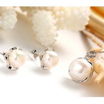 Set Collar Y Aretes, Perlas Naturales Auténticas Aaa Regalo