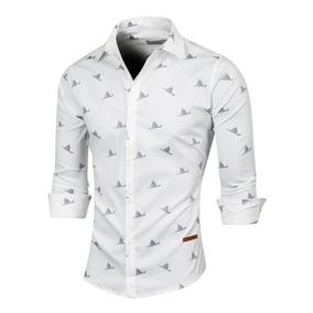 Camisa Origami, De Poplín Estampado, Slim Fit, Valkymia