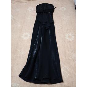Vestido De Noche Largo Negro Tipo Satín Talla 32 Seminuevo
