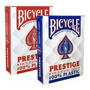 Par Baralho Bicycle Prestige Rider 100% Plástico Poker Size
