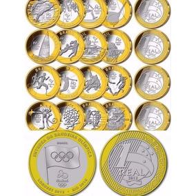 Coleção Completa 17 Moedas 1 Real Olimpíadas + Bandeira
