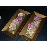 573- Par De Cuadros Flores En Relieve Ceramica Sobre Madera