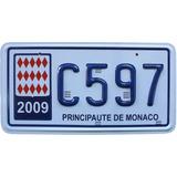 Placa Carro Principado De Mônaco Réplica Em Alto Relevo