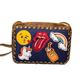 Bolsa Feminina Patches Jeans Couro Quadrada Emoji Ref 217