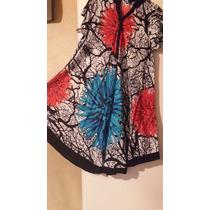Vestidos Hindu Fibrana Estampada Con Ysin Mangas T2xl $590
