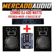 Combo Dj  Potencia+ Mixer Mdj206+2 Bafles 10 Pulgadas