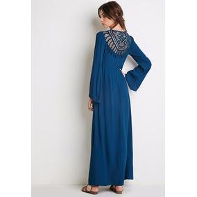 Vestido Largo Escotado Espalda Crochet Forever 21 Hermoso!!!