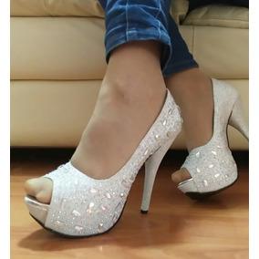 Zapatillas Blanca Plata Cristales Fantasía Fiesta Xv Pump 23