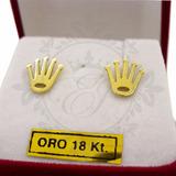 Par Aros Corona Rolex Oro 18 K 1.6 Grs Mujer Cierre A Rosca
