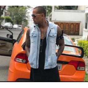 Colete Jeans Masculino Rasgado Destroyed Moto Coleteira Slim