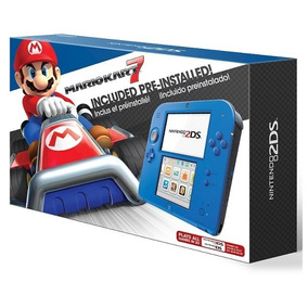 Nintendo 2ds Azul+jogo Mario Kart+fonte + Ar Cards+brinde.