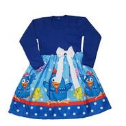 Vestido Infantil Galinha Pintadinha Azul Manga Longa Fab2