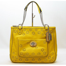 Bolso Coach Poppy Eyelet Leather Medium Chain Tote In Marig