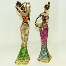 Par Africanas Resina Mulher Negra Boneca Estátua Escultura