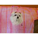 Camiseta Feminina Pintada A Mão Com Figura De Cachorro