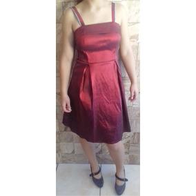 Vestido Vermelho Com Alças (detalhe Prata) Tam. 42 M