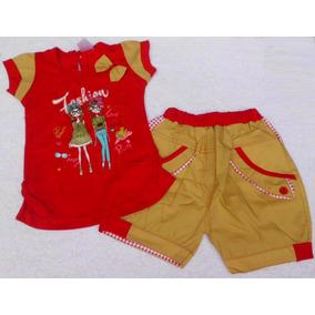 Conjunto Franela Y Short Camisa Rojo Ropa Bebe Niña
