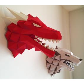 Papercraft Escultura D Parede Cabeça Targaryen Dragon Got