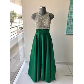 Vestido Elegante Verde Con Pedrería