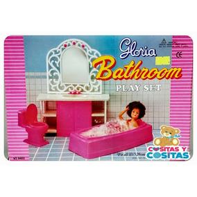 Mueble Para Casa De Muñeca Barbie Baño Rosa Con Tina