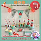 Kit Imprimible Ladybug Mariquita Banderin Candy Bar Fiesta