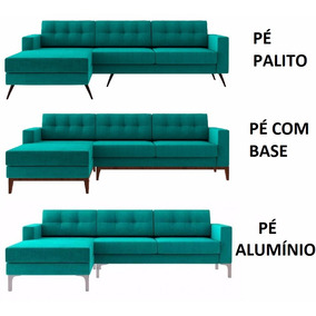 Sofá Living Novo Pé Palito Aluminio C/ Base Madeira Chaise 3