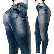 Calça Jeans Feminina Cintura Alta Rasgada Com Elastano