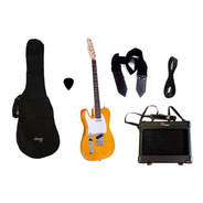 Combo Guitarra Electrica Parquer Tele Natural Zurdo Ampli 5w