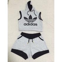 Conjunto Adidas Blusa Croped Com Toca Moda Blogueiras Verão