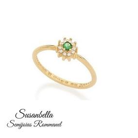 Anel Rommanel Skinny Ring Flor Cor Verde 512363