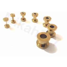Par Alargador Dourado Aço Inox316l 1, 2, 3, 4, 5 , 6 E 8mm