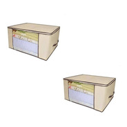 Kit 2 Caixa Organizadora Organizador Roup Coberta 60x45x30cm