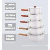 *25 Brindes* Alumínio Batido Jogo 5 Panelas Cabo Comprido ;)