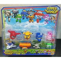 Coleção 8 Bonecos Super Wings Jet Donnie Transformer (mini)