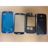 Kit Carcaça Vidro Aro Original Samsung Galaxy S3 I9300 Azul