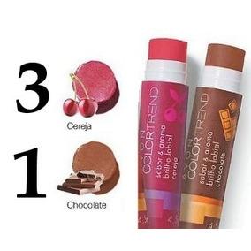 Avon Sabor E Aroma Brilho Labial Kit C/ 3 Cereja 1 Chocolate