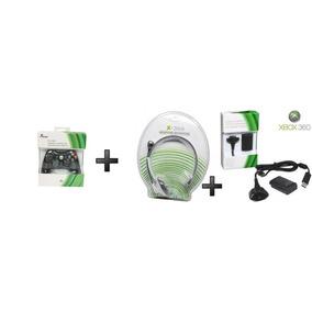 Kit 3x1 Controle Xbox Sem Fio Fone De Ouvido Bateria Xbox360